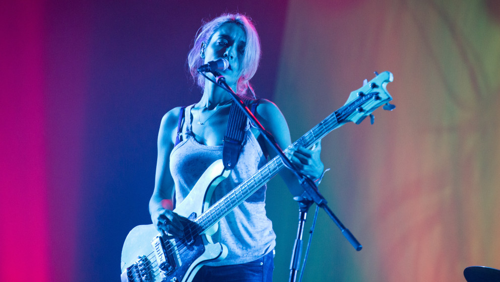 GDYNIA, POLAND - JULY 05:  Jenny Lee Lindberg of Warpaint performs on stage at Open'er Festival at Gdynia Kosakowo Airport, o