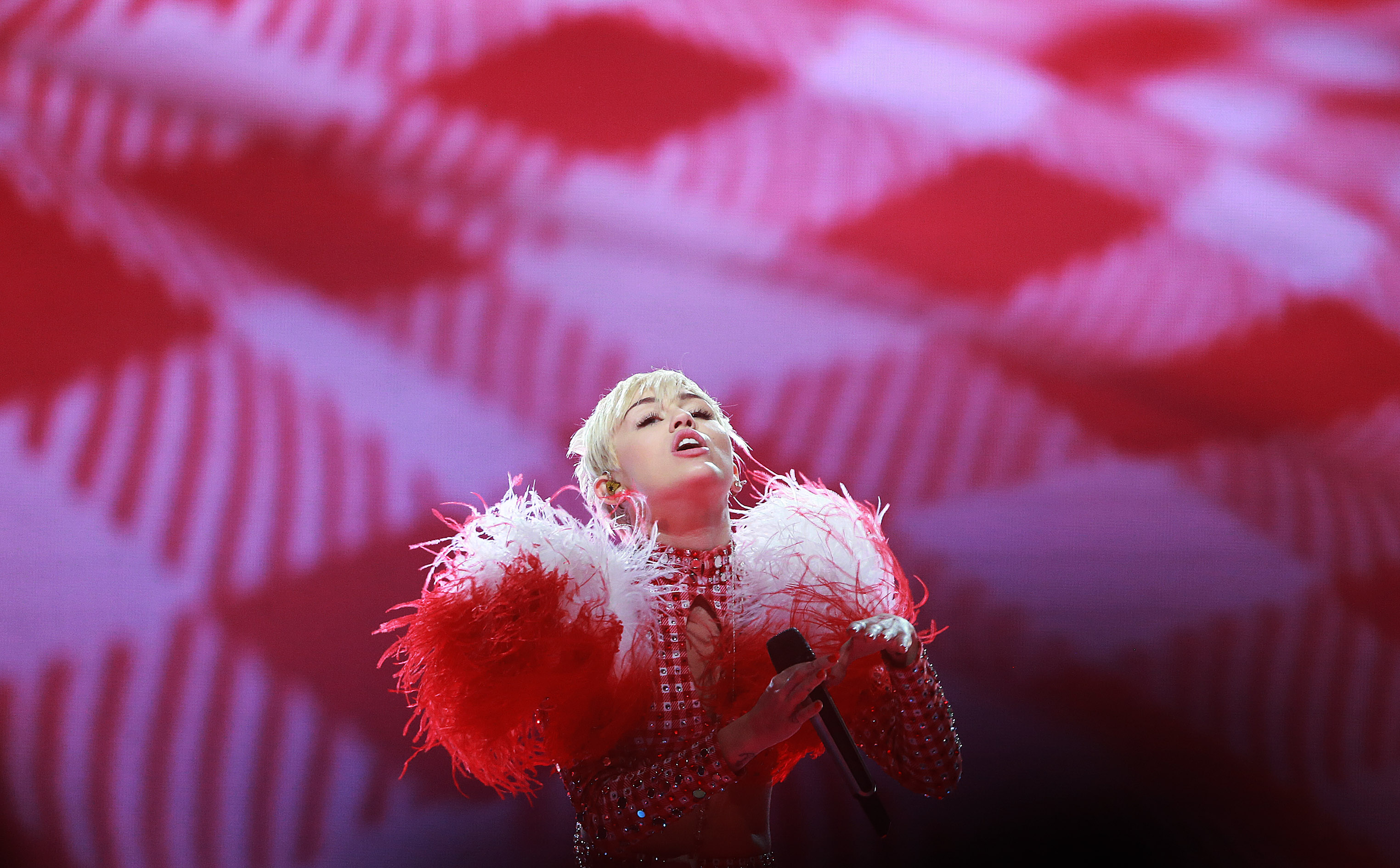 BOSTON - APRIL 2: Miley Cyrus performs live during her concert at TD Garden on April 2, 2014. (Photo by Jim Davis/The Boston