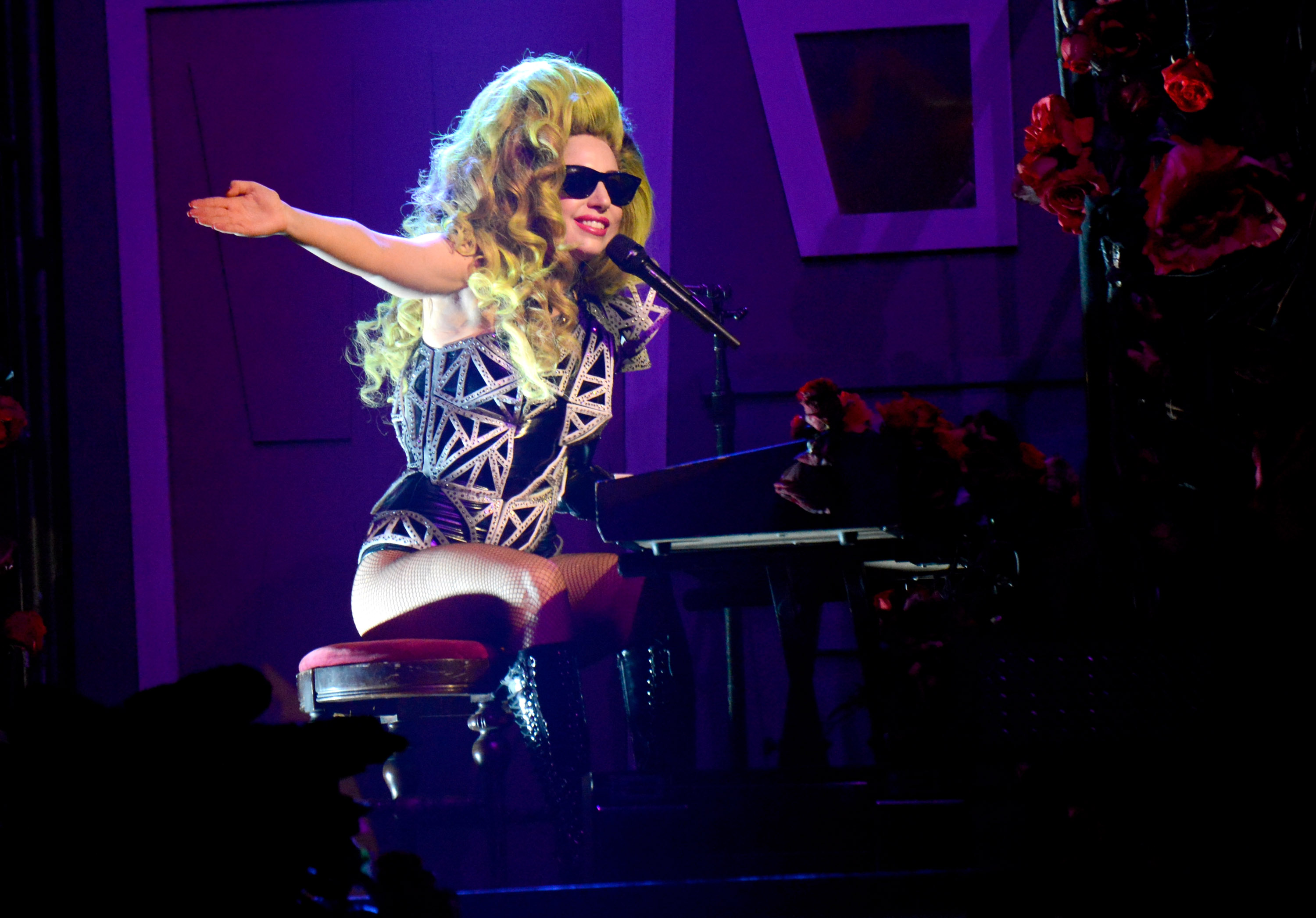 NEW YORK, NY - APRIL 07:  (EXCLUSIVE COVERAGE) Lady Gaga performs onstage at Roseland Ballroom on April 7, 2014 in New York C