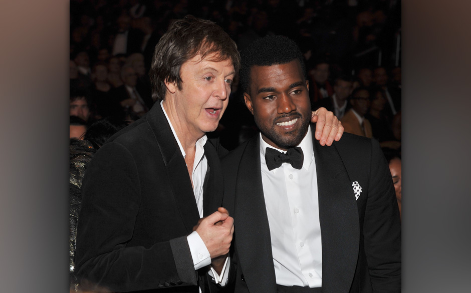 (EXCLUSIVE, Premium Rates Apply) LOS ANGELES, CA - FEBRUARY 08:  Musicians Paul McCartney and Kanye West attend the 51st Annu