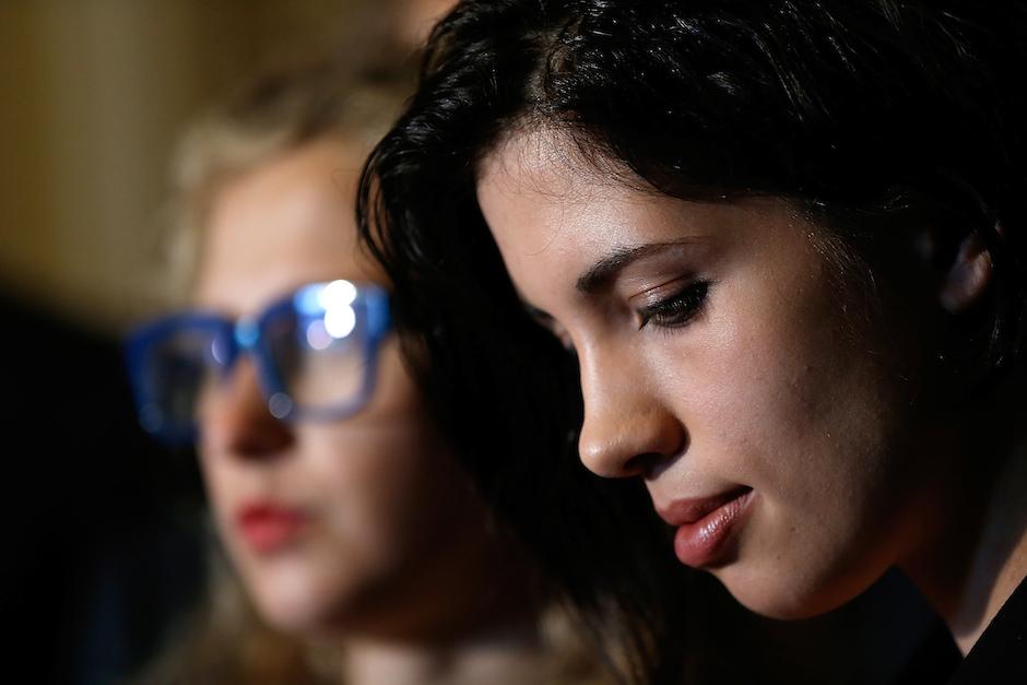 WASHINGTON, DC - MAY 06:  Nadya Tolokonnikova (R) and Maria Alyokhina (L), members of the Russian punk protest group Pussy Ri