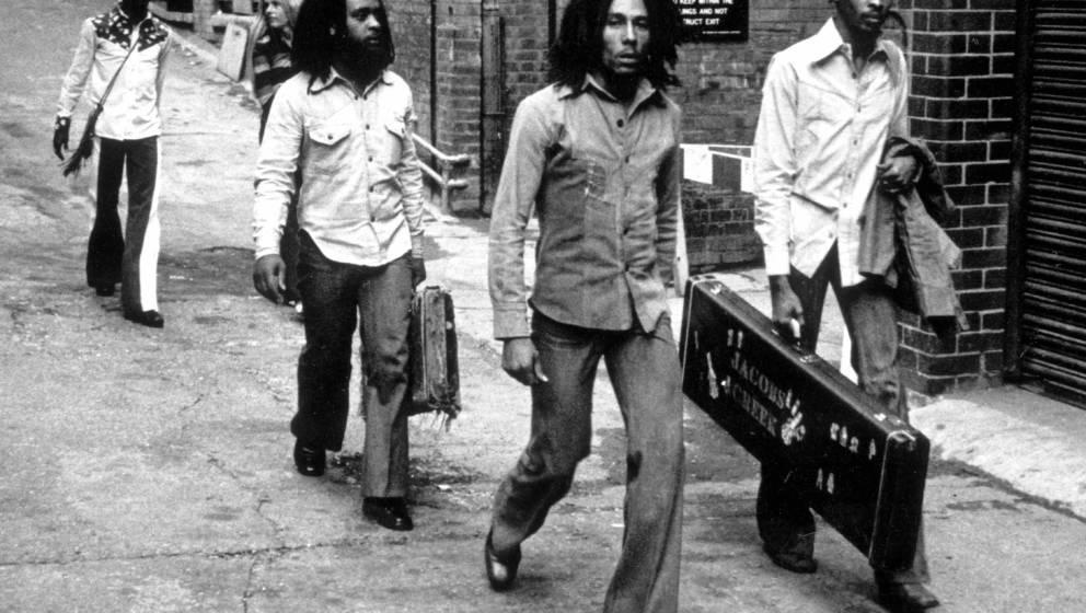 UNITED KINGDOM - JULY 19:  BIRMINGHAM  Photo of Bob MARLEY and WAILERS, Bob Marley and the Wailers arriving at Birmingham Ode