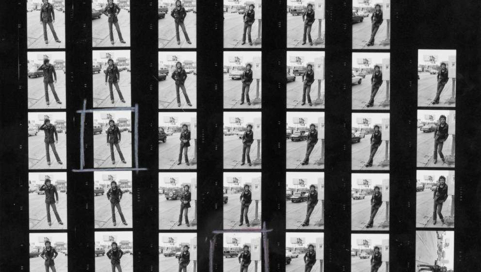 A contact sheet depicting American singer-songwriter Bruce Springsteen on Sunset Strip, 1975. He is in Los Angeles to promote