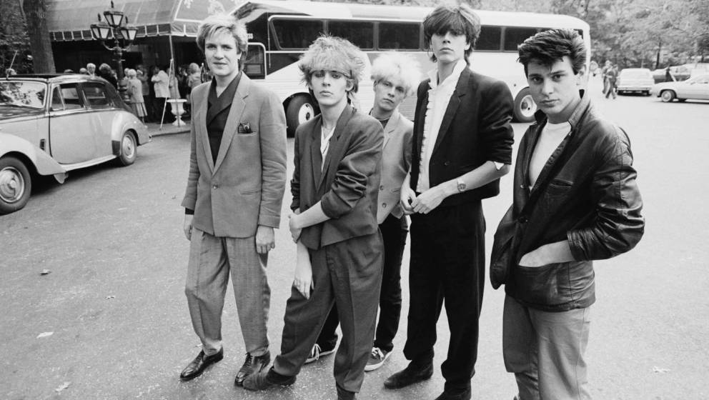 English new romantic group Duran Duran in New York, 1981. Left to right: singer Simon Le Bon, keyboard player Nick Rhodes, gu