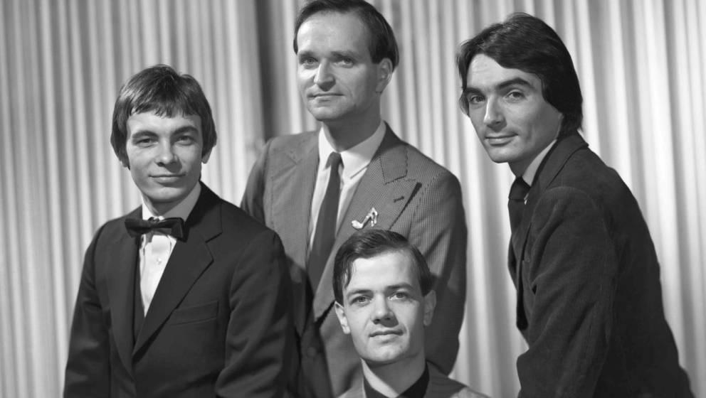 Photo by Maurice Seymour/Kraftwerk/Getty Images; NEW YORK - CIRCA 1975:  German electronic group Kraftwerk (L-R Karl Bartos,