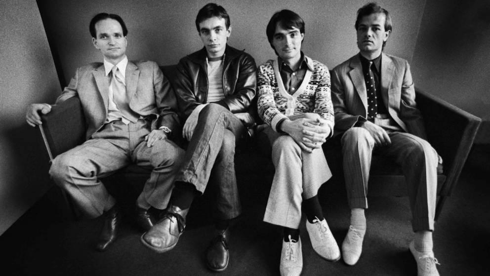 ROTTERDAM, NETHERLANDS - MARCH 21: Kraftwerk posed in Rotterdam on March 21 1976 L-R Florian Schneider, Karl Bartos, Wolfgang
