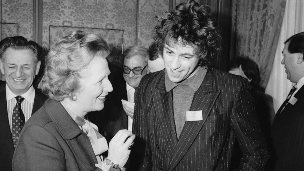 Irish singer and Live Aid organizer Bob Geldof with British Prime Minister Margaret Thatcher, 28th February 1985. (Photo by T