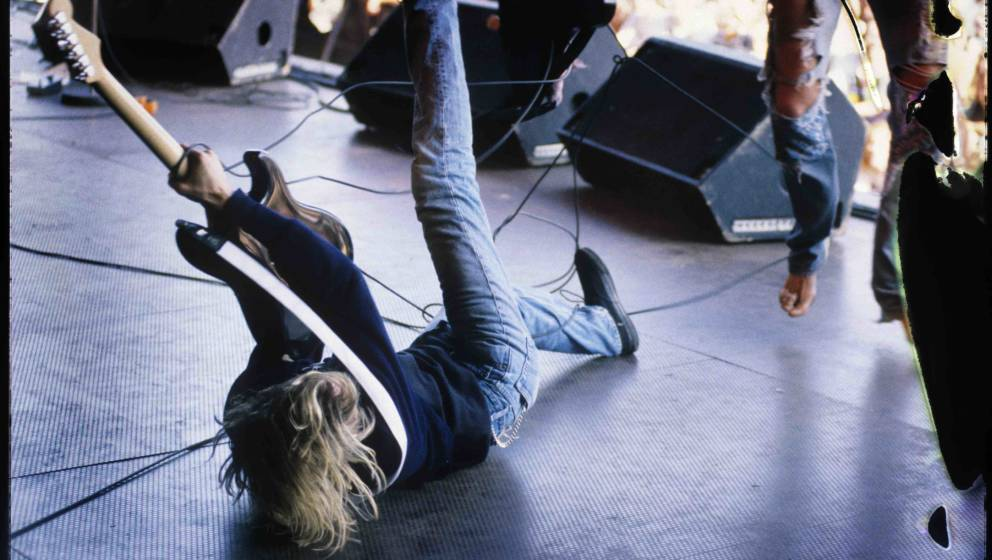 Nirvana, Kurt Cobain, Pukkelpop Festival, Hasselt, Belgium, 25/08/1991. (Photo by Gie Knaeps/Getty Images)
