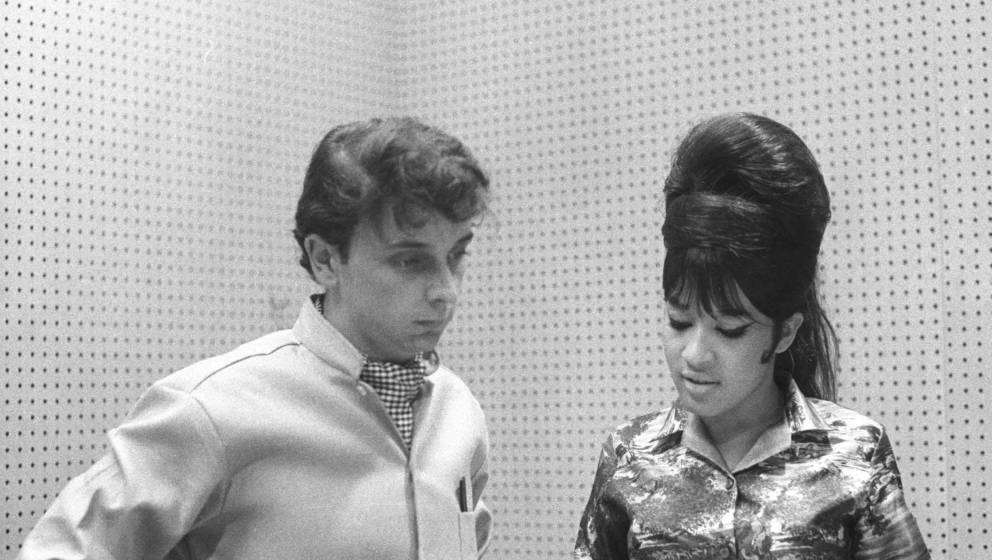 UNSPECIFIED - CIRCA 1960:  Photo of Phil Spector w/Ronnie Bennett (Spector) recording  (Photo by Ray Avery/Redferns)