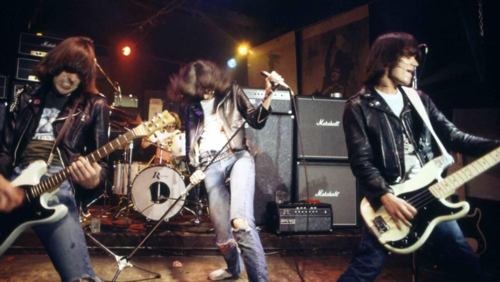 UNITED STATES - JANUARY 01:  CBGB'S  Photo of Johnny RAMONE and RAMONES and Dee Dee RAMONE and Joey RAMONE, L-R. Johnny Ramon