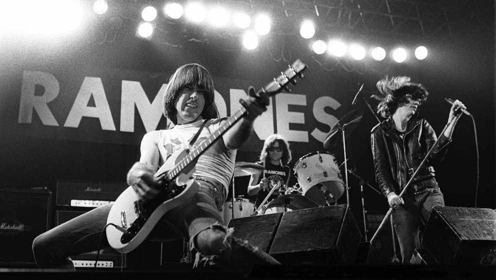 UNITED KINGDOM - DECEMBER 21:  MANCHESTER APOLLO  Photo of RAMONES and Johnny RAMONE and Joey RAMONE and Tommy RAMONE, L-R Jo