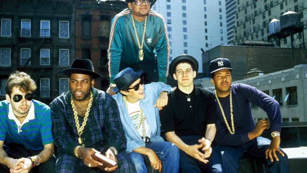 UNITED STATES - CIRCA 1985:  Run DMC and The Beastie Boys on a rooftop in Hell's Kitchen, NYC announcing a Co-headlining tour