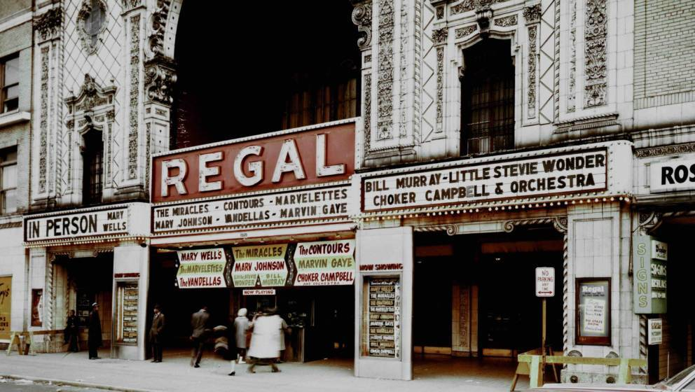 CHICAGO - JUNE 1962:  The exterior of the Regal Theater with the Marquee for the Motortown Revue (Mary Wells,The Miracles, Th