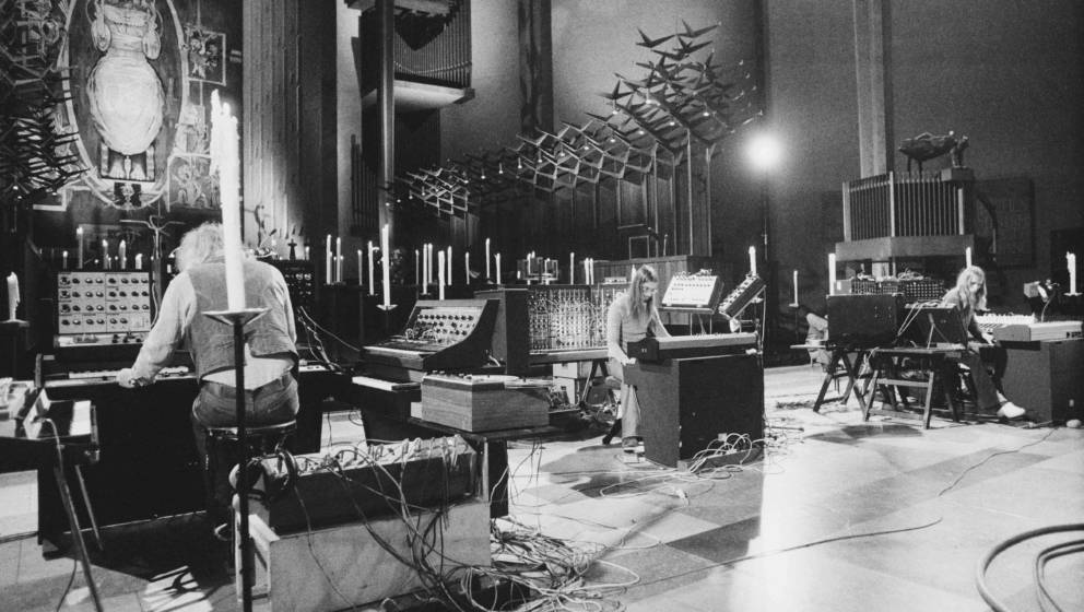 German electronic music group Tangerine Dream performing at Coventry Cathedral, Warwickshire, 4th October 1975. Left to right