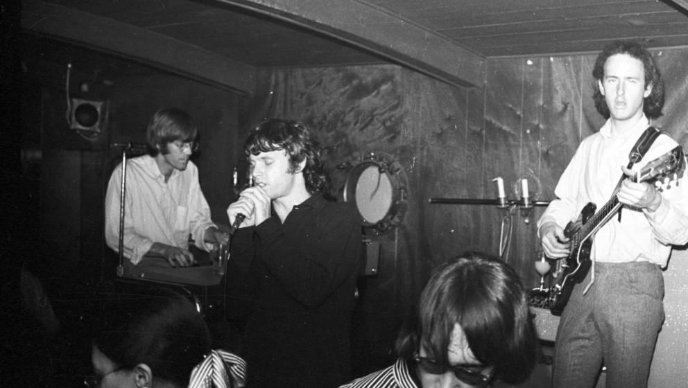 NEW YORK - November 1966:  (L-R) Keyboardist Ray Manzarek, singer Jim Morrison and guitarist Robby Krieger of the rock and ro