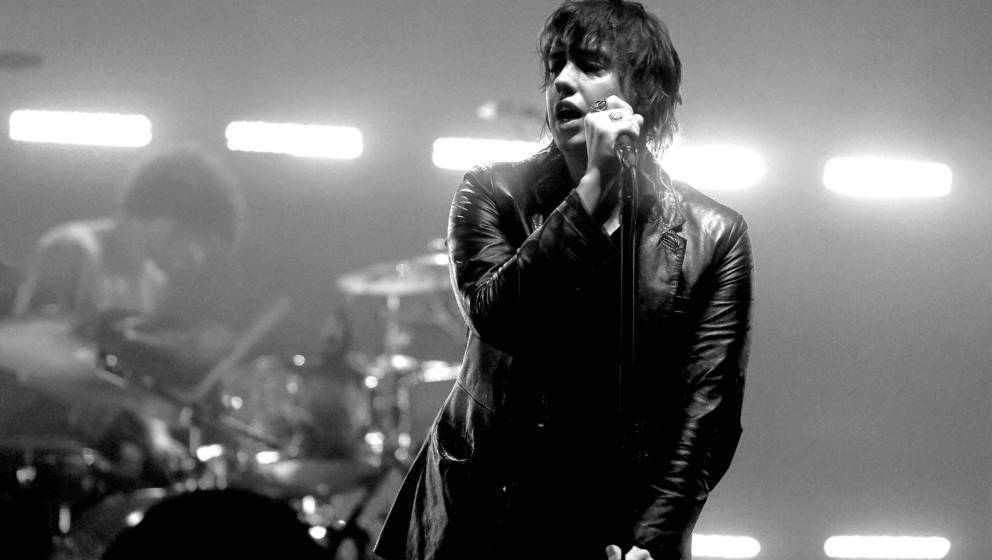 LOS ANGELES, CA - JULY 25:  (EDITOR'S NOTE: Image has been digitally converted to black and white.) Singer Julian Casablancas