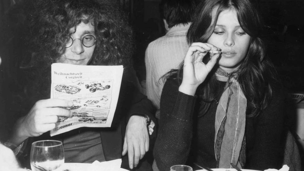 16th December 1969:  Rainer Langhans and his girlfriend Uschi Obermaier in a Munich restaurant. Two of the founders of  the B