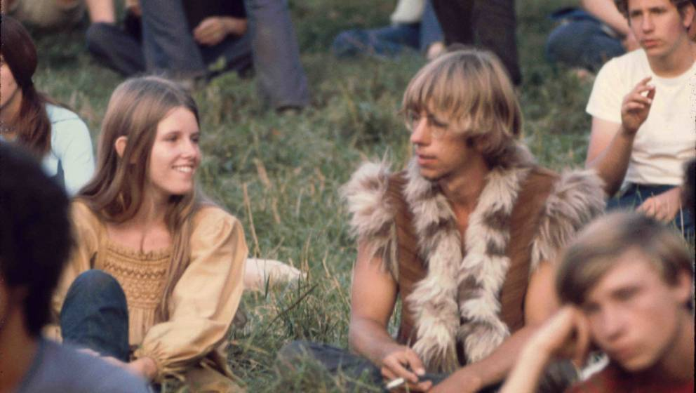 Kids on the grass near the free stage at Woodstock 1969