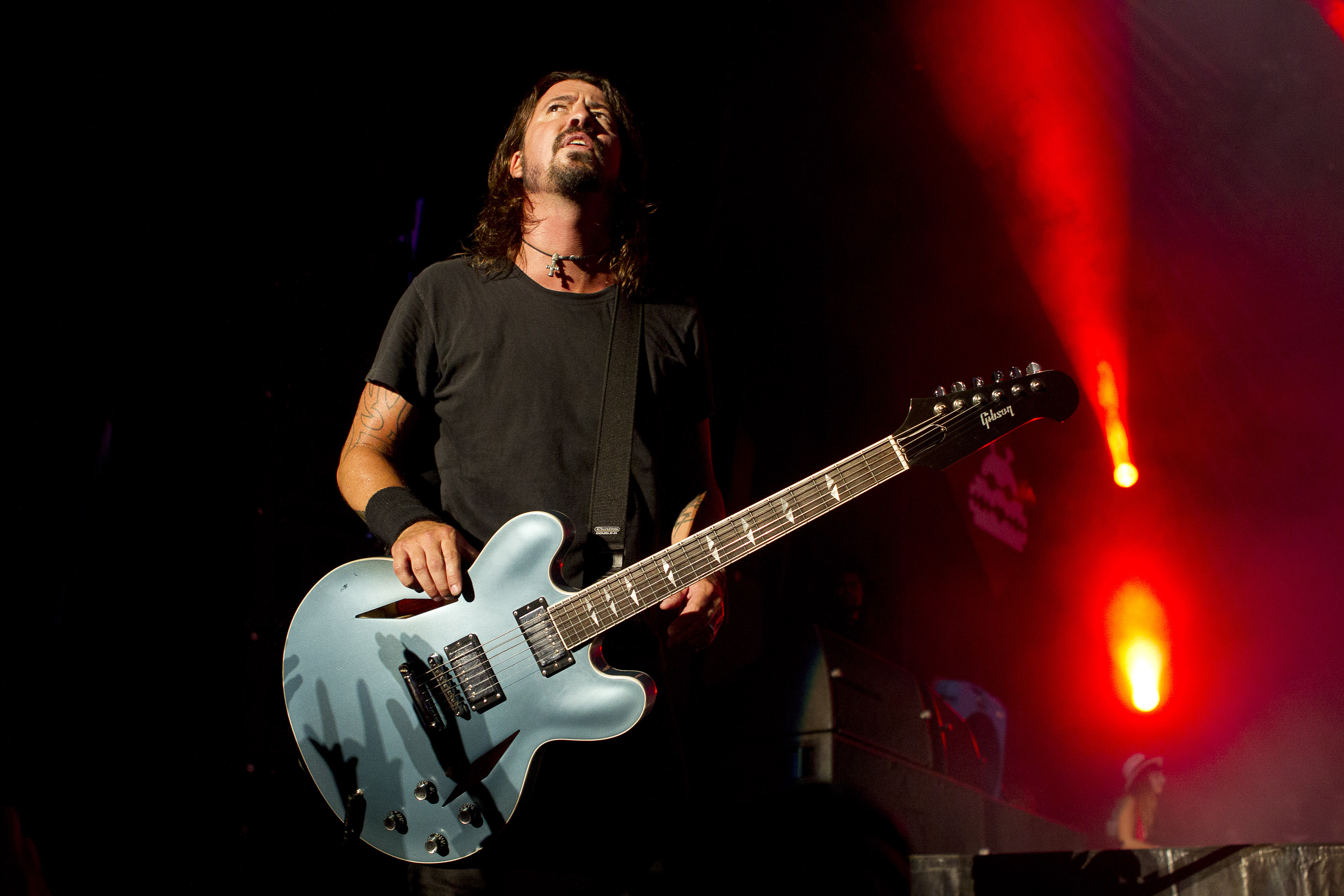 Dave Grohl of Foo Fighters performs on stage, Lowlands festival, Biddinghuizen, Netherlands, 19 August 2012. (Photo by Paul B