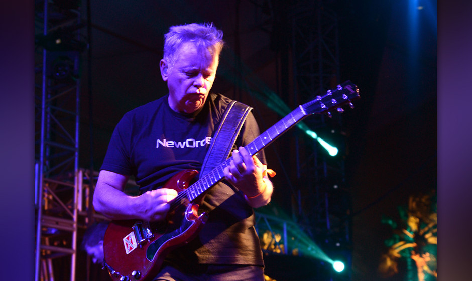 INDIO, CA - APRIL 13: Bernard Sumner of New Order performs during Day 2 of the 2013 Coachella Music Festival on April 13, 201