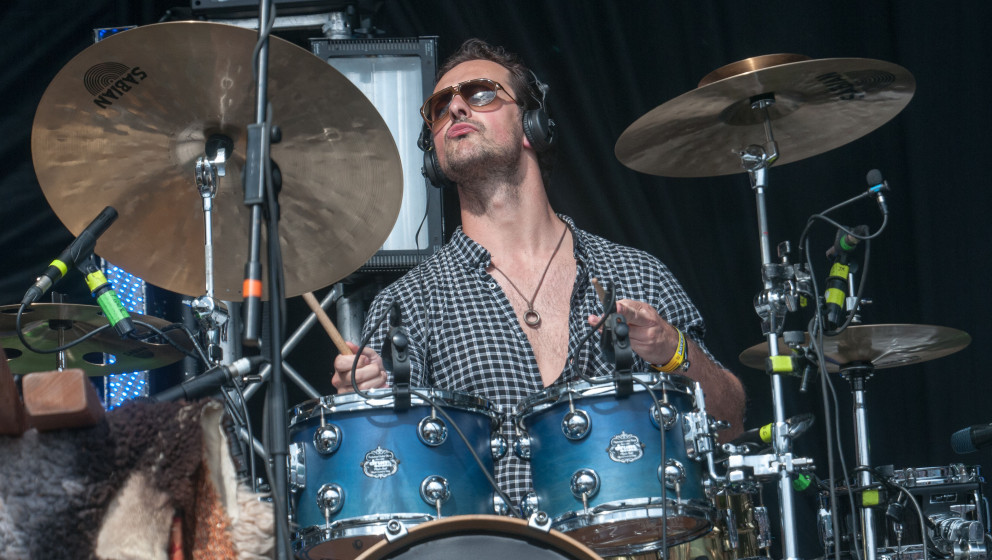 Crystal Fighters - drummer performing live on the main stage at LOVEBOX: A Decade of Love, Day 3, Victoria Park, London, Unit