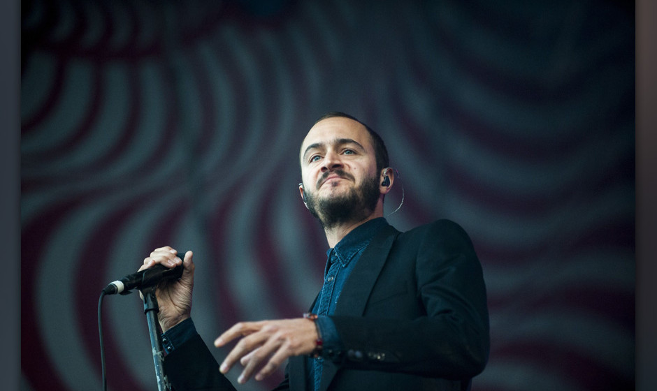 Singer Tom Smith performs from the British alternative rock band, Editors, performs at the 21st Sziget (Island) Festival on t