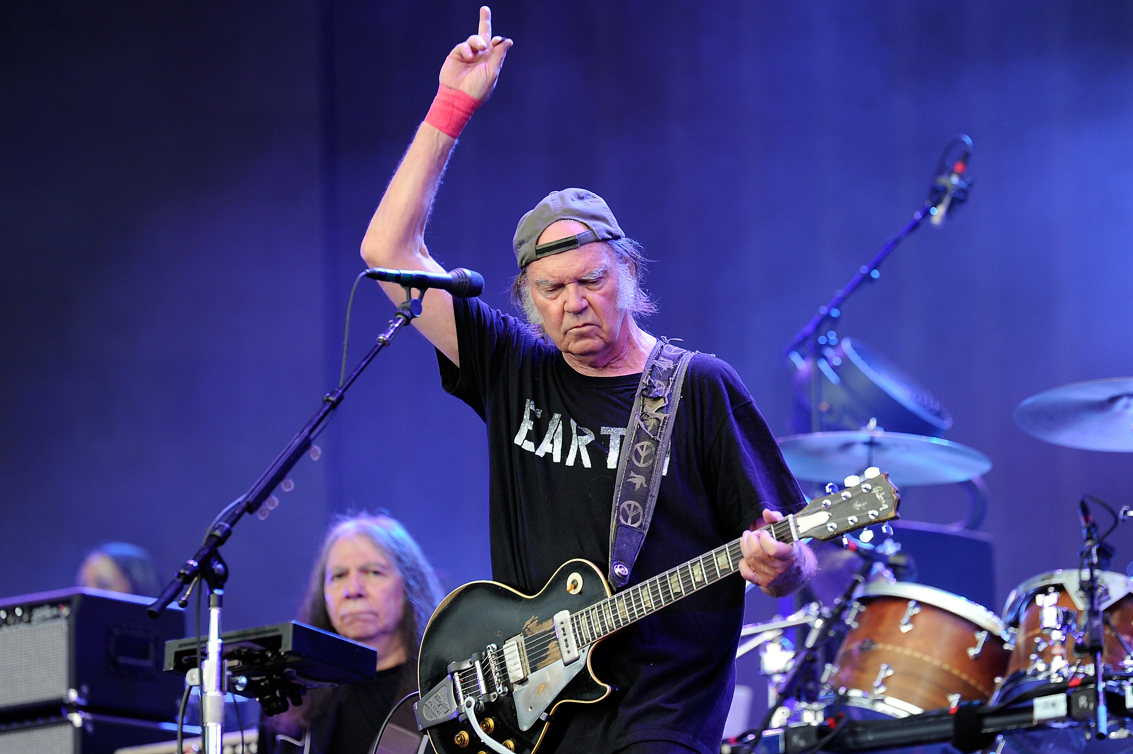 LONDON, ENGLAND - JULY 12:  Neil Young performs with Crazy Horse on stage at British Summer Time Festival at Hyde Park on Jul