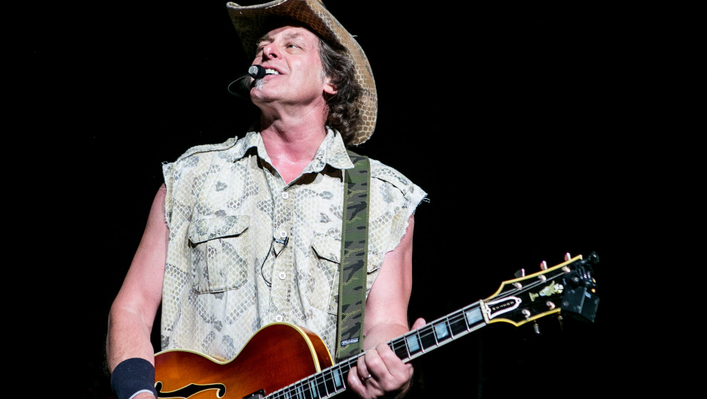 CLARKSTON, MI - JULY 19:  Ted Nugent performs at DTE Energy Music Theater on July 19, 2014 in Clarkston, Michigan.  (Photo by