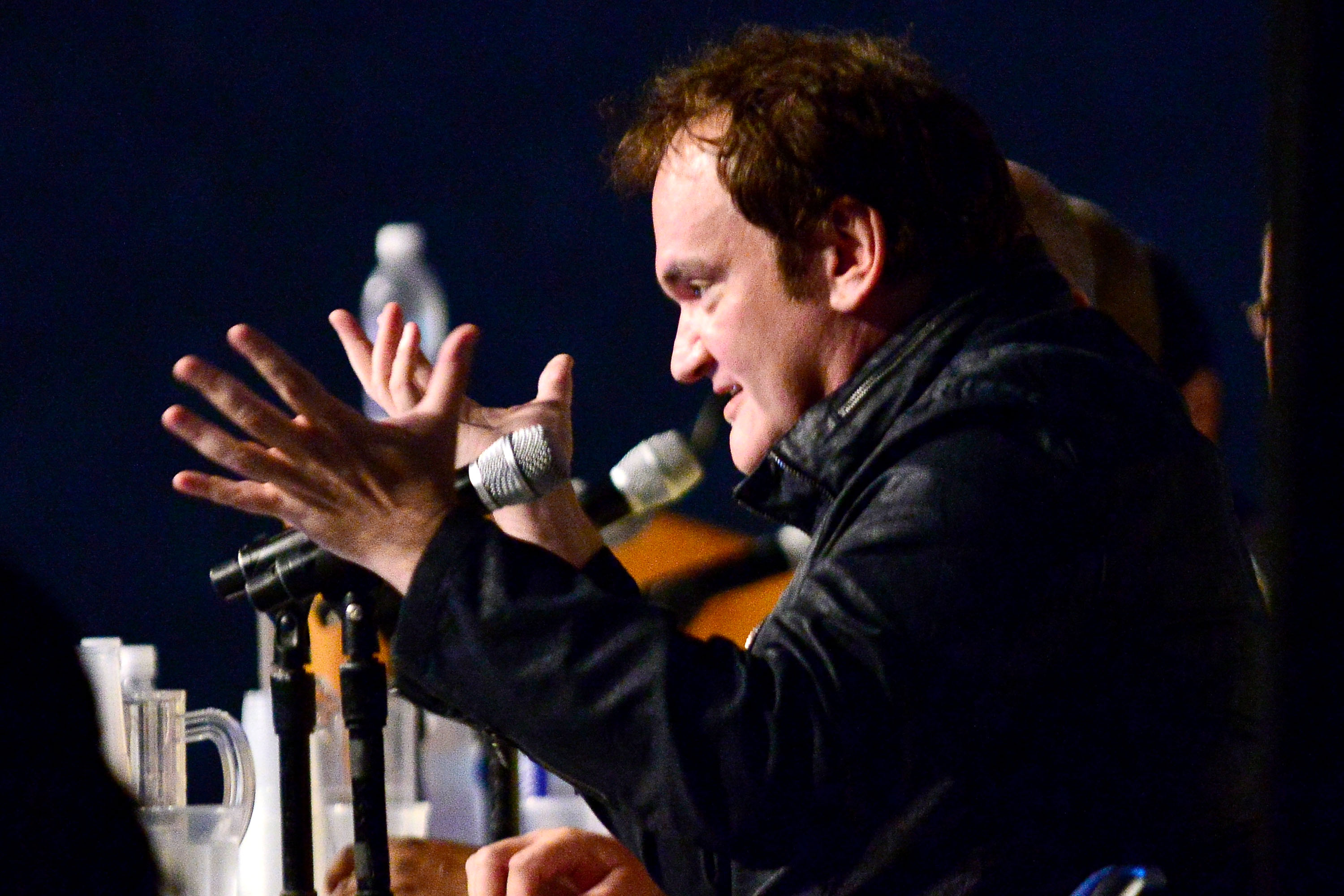 SAN DIEGO, CA - JULY 27:  Quentin Tarantino attends Dynamite 10th Anniversary Panel - Comic Con International 2014 at San Die