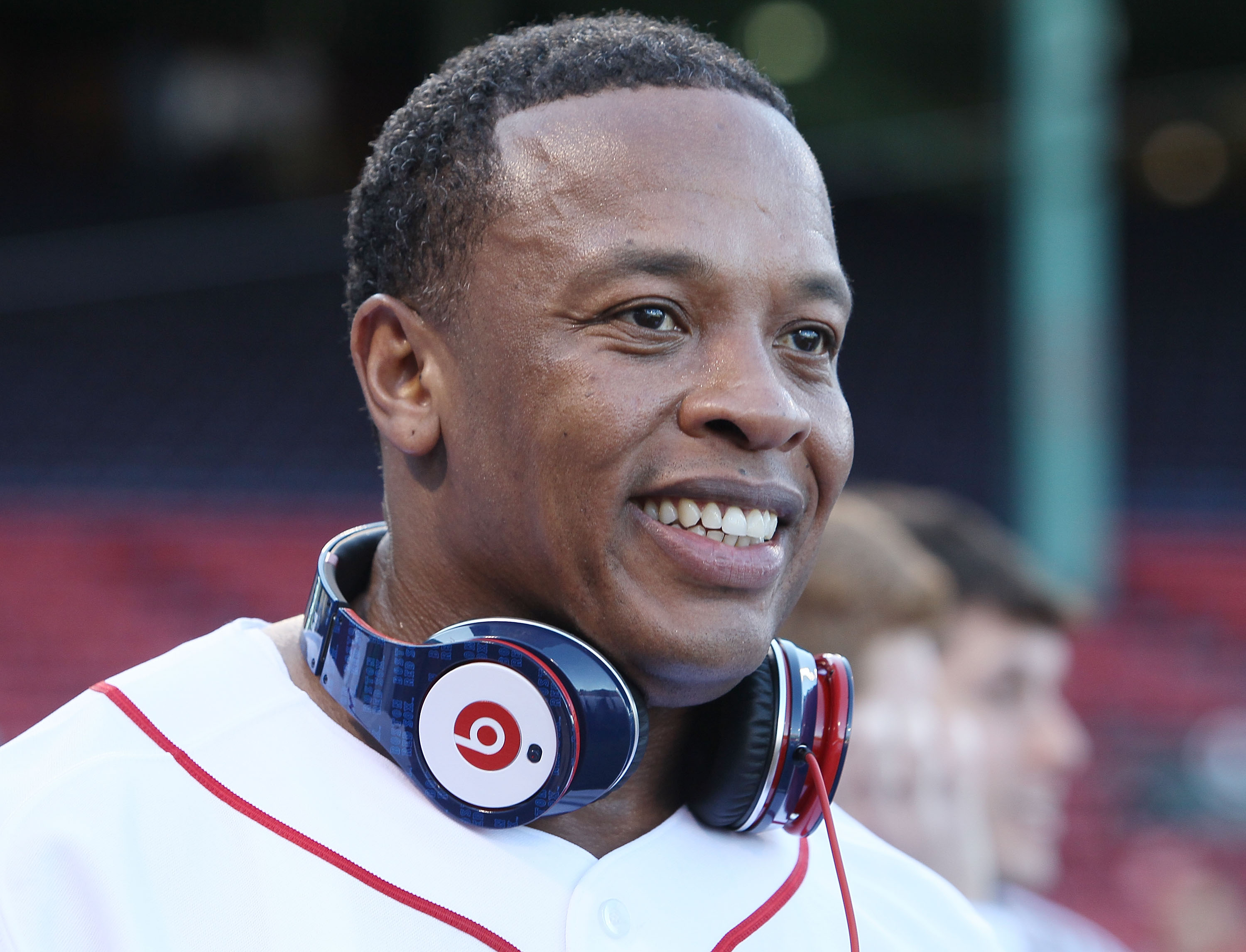 BOSTON - APRIL 04:  Producer and musician Dr. Dre is on the field before the Boston Red Sox take on the the New York Yankees