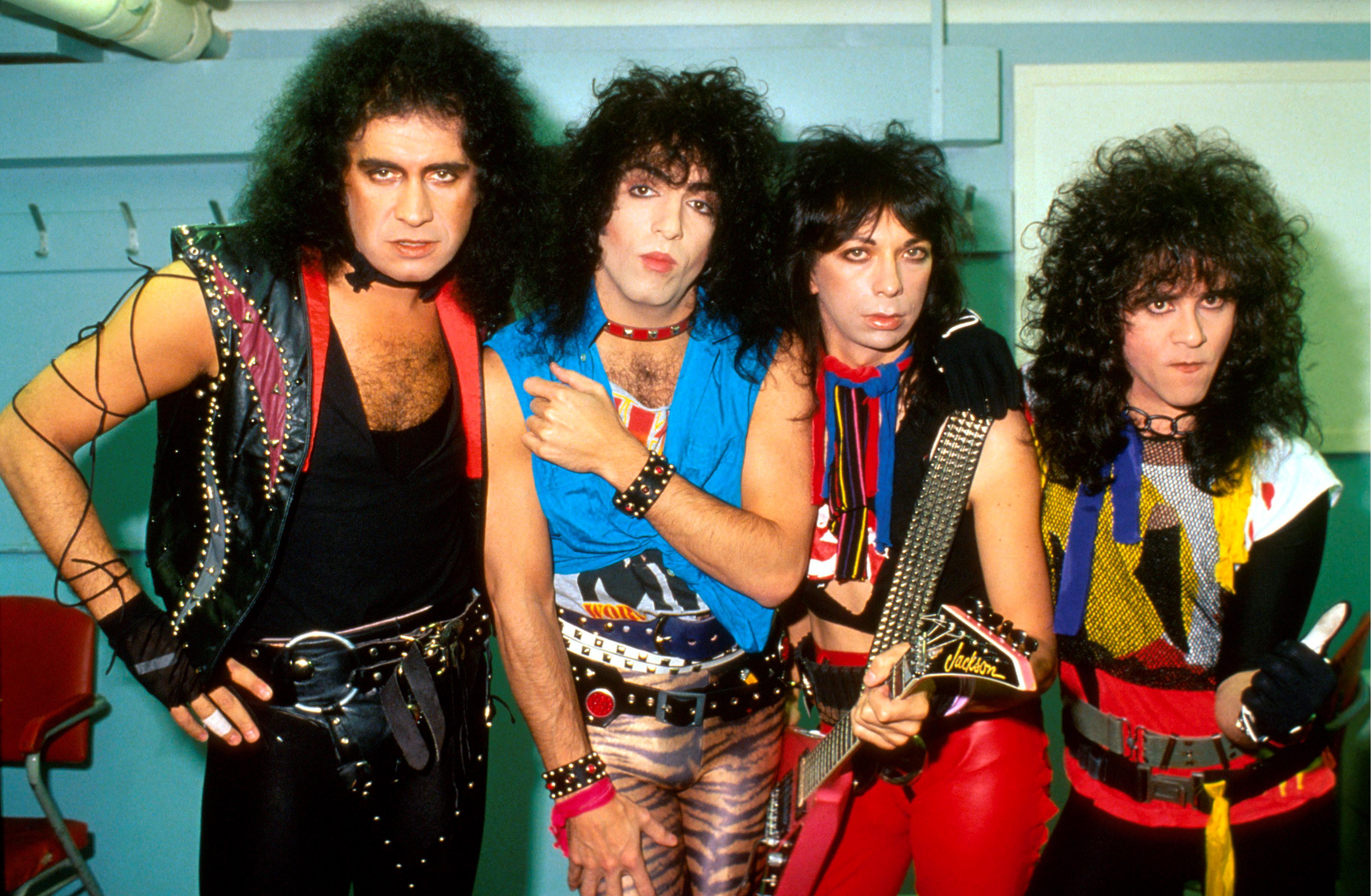 Kiss, group portrait, without make up, London, August 1983, L-R Gene Simmons, Paul Stanley, Vinnie Vincent, Eric Carr. (Photo