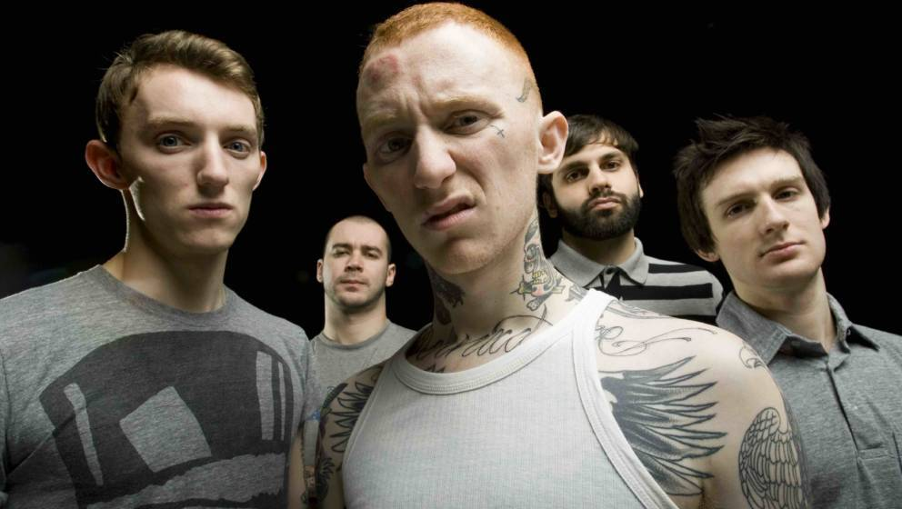 British punk band Gallows pose for a group portrait. Left to right are Steph Carter, Stuart Gili-Ross, Frank Carter, Laurent