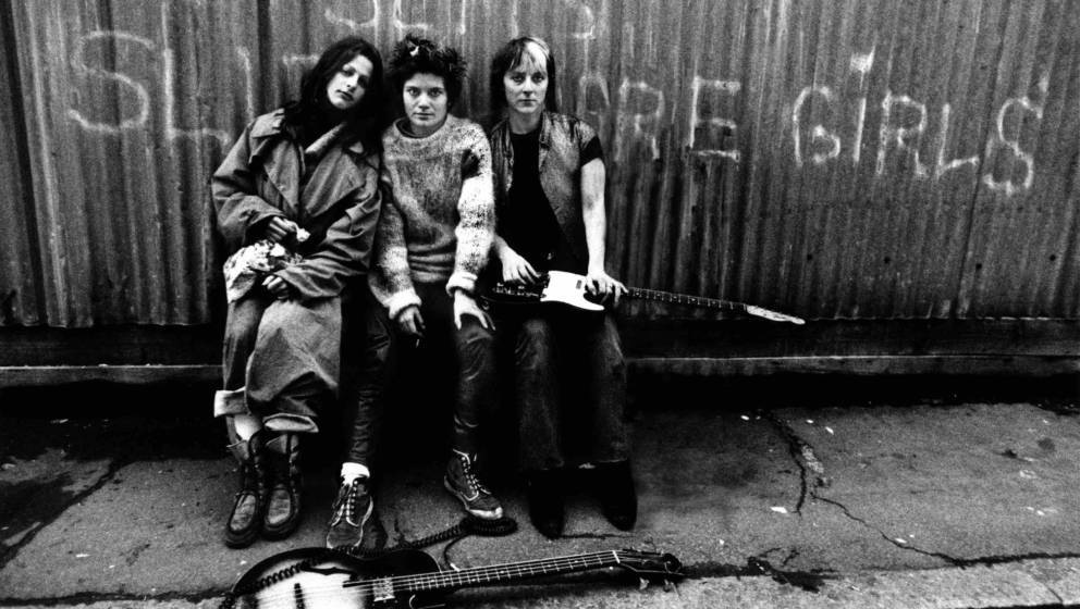 Members of British punk group The Slits, minus a bass player, in Daventry Street London, NW1, 1977. Left to right: singer Ari