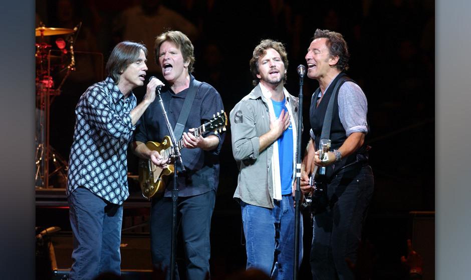 Jackson Browne, John Fogerty, Eddie Vedder and Bruce Springsteen (Photo by Debra L Rothenberg/FilmMagic)