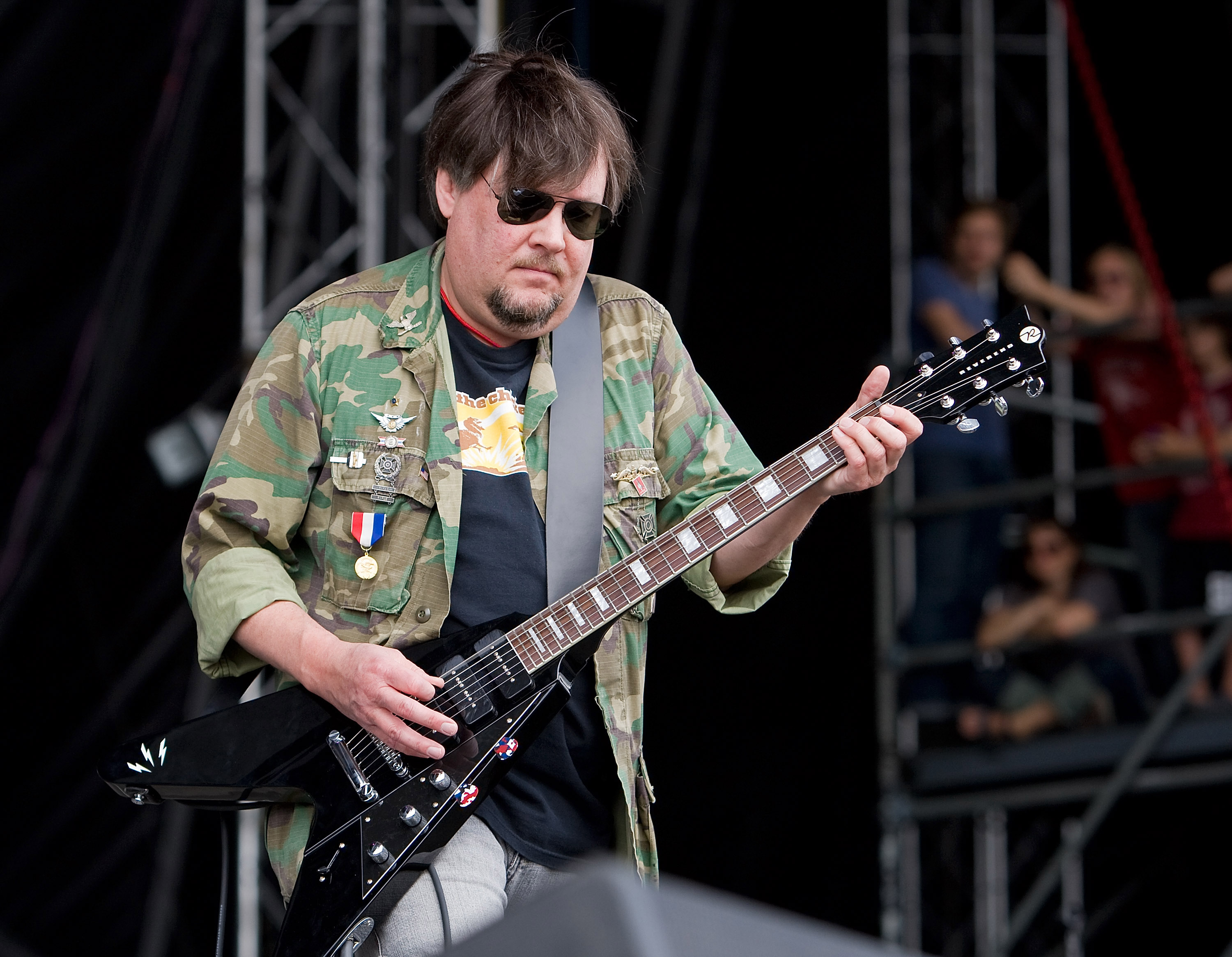 Ron Asheton of Iggy and the Stooges performs during the 2008 Virgin Mobile festival at the Pimlico Race Course on August 10,