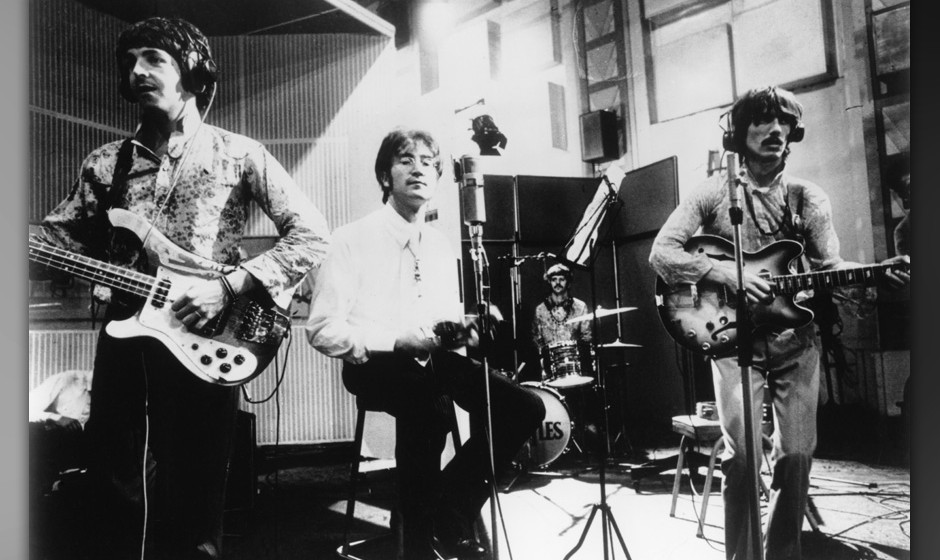 LONDON - JUNE 25: Rock and roll band 'The Beatles' perform their song 'All You Need Is Love' on 'Our World' the first live sa