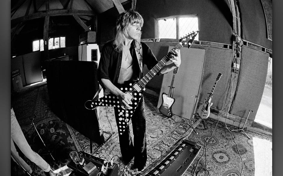 WEST SUSSEX, ENGLAND - 1st MAY: American guitarist Randy Rhoads (1956-1982) recording Ozzy Osbourne's 'Blizzard of Ozz' album