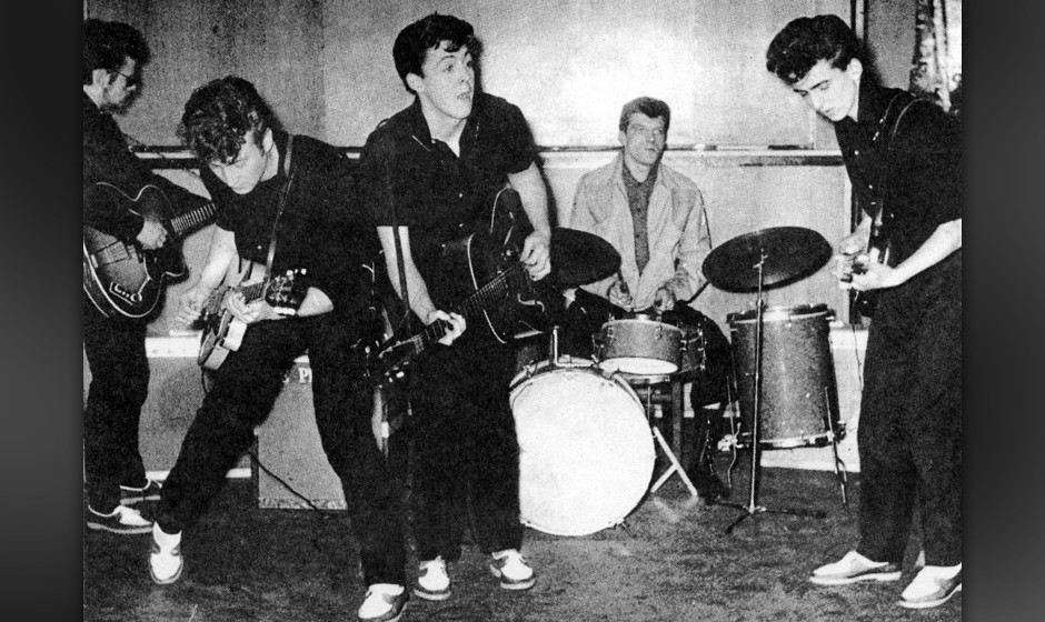 LIVERPOOL - 1960:  The Silver Beatles (L-R Stu Sutcliffe, John Lennon, Paul McCartney, Johnny Hutch and George Harrison) on s