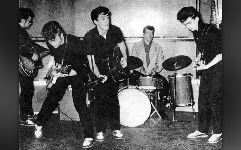 LIVERPOOL - 1960:  The Silver Beatles (L-R Stu Sutcliffe, John Lennon, Paul McCartney, Johnny Hutch and George Harrison) on s