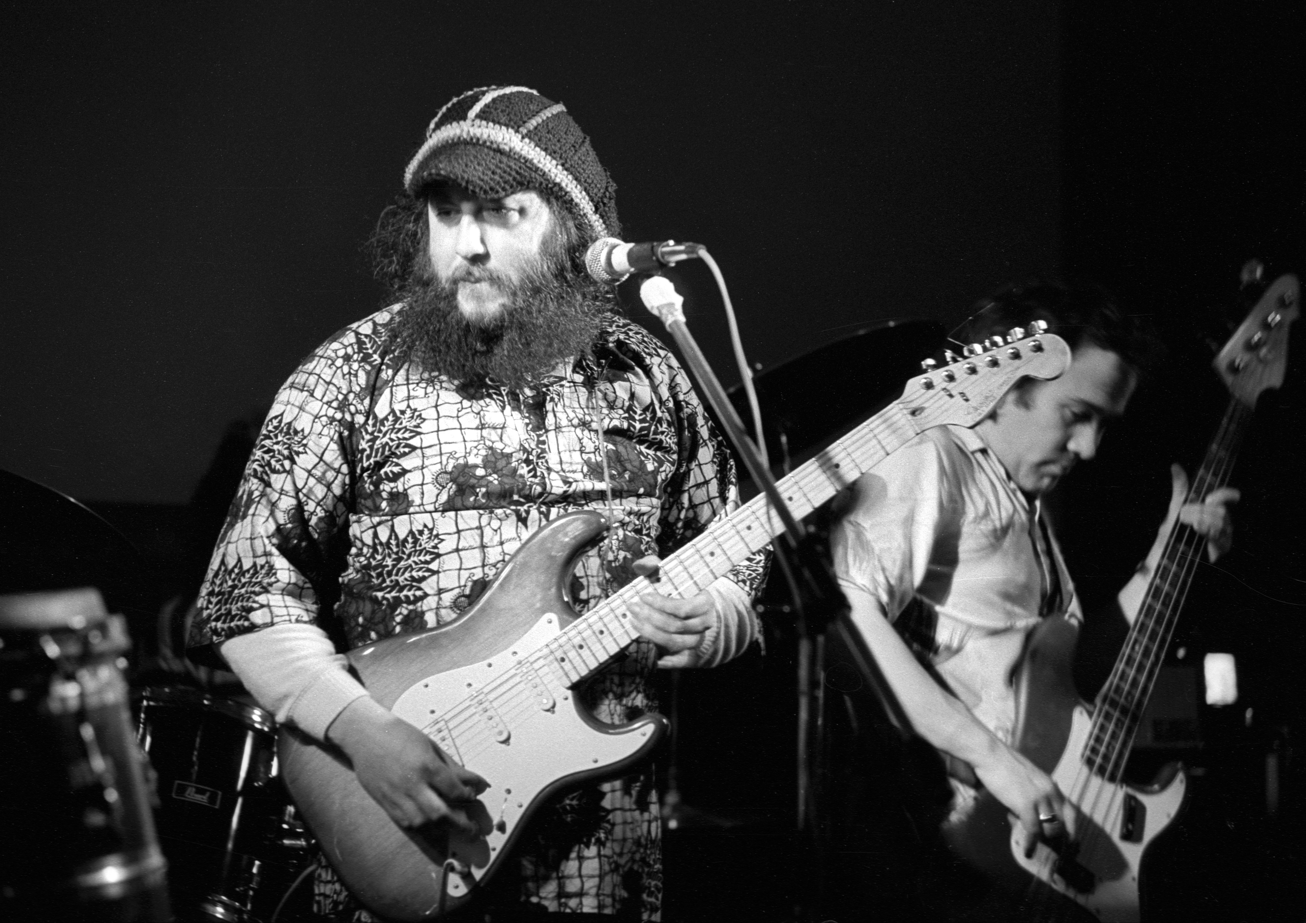 English blues guitarist and former member of Fleetwood Mac, Peter Green on stage at the Mean Fiddler, London, February 1985.