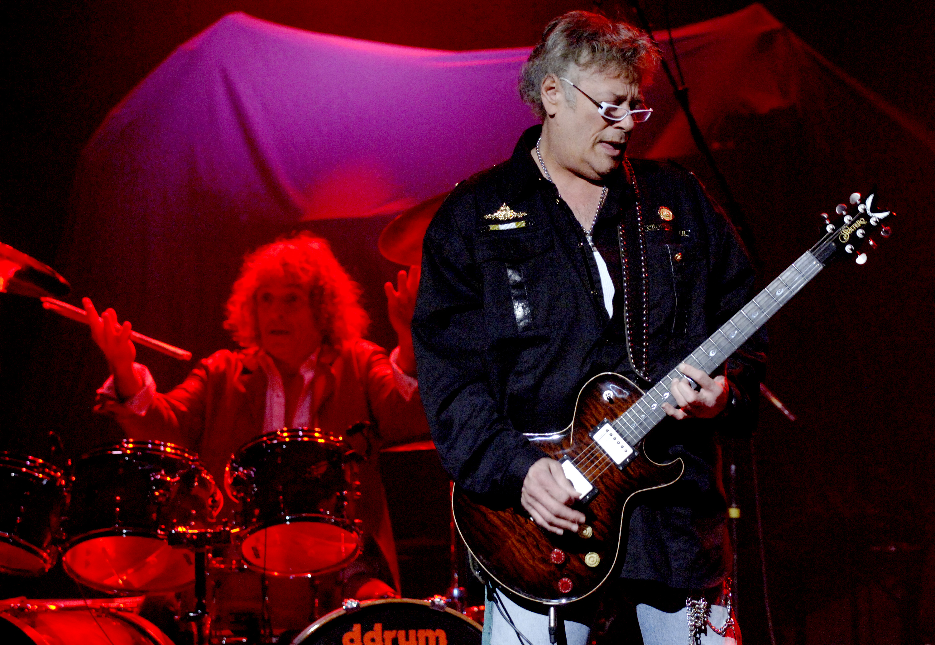 SAN FRANCISCO, CA - NOVEMBER 15:  Corky Laing (L) and Leslie West of Mountain perform in support of the bands' Masters of War