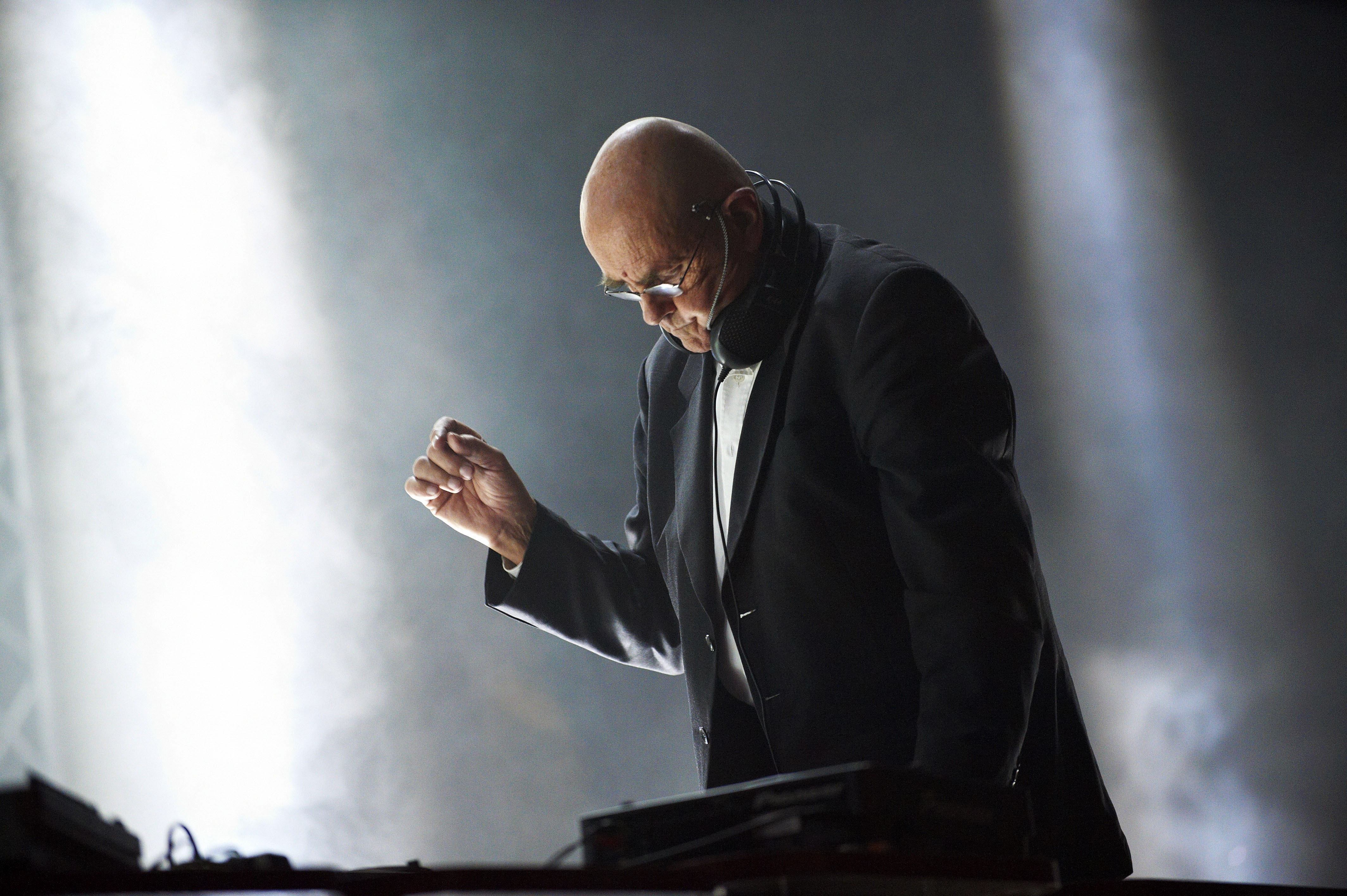 MINEHEAD, UNITED KINGDOM - DECEMBER 05: Hans-Joachim Roedelius of Cluster performs on stage during the final day of ATP Night