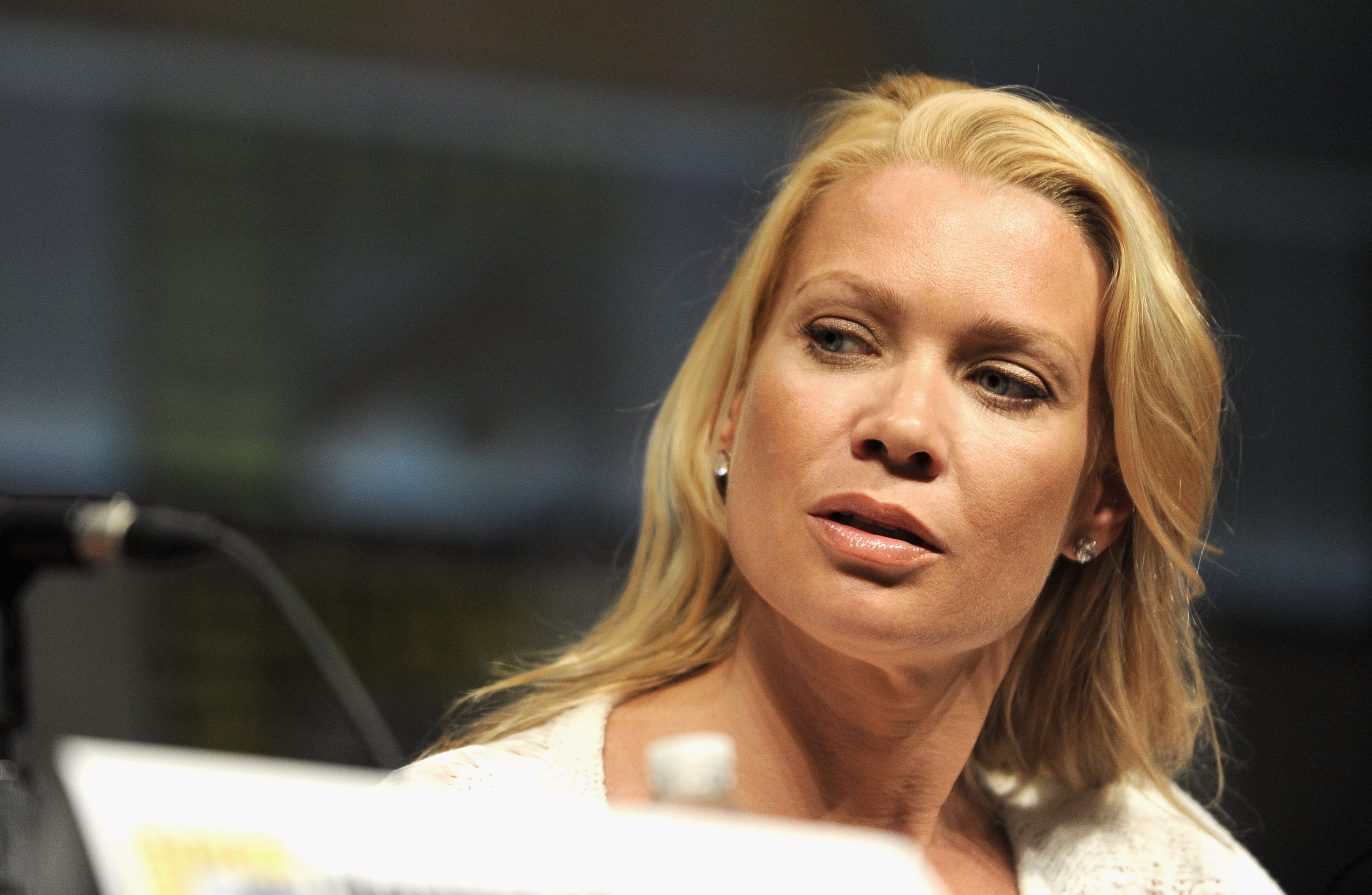 SAN DIEGO, CA - JULY 13:  Actress Laurie Holden  speaks at AMC's 'The Walking Dead' panel during Comic-Con International 2012