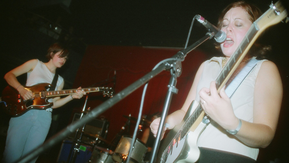 NEWPORT, KY - SEPTEMBER 15:  Carrie Brownstein and Corin Tucker of Sleater-Kinney perform at the Southgate House on September