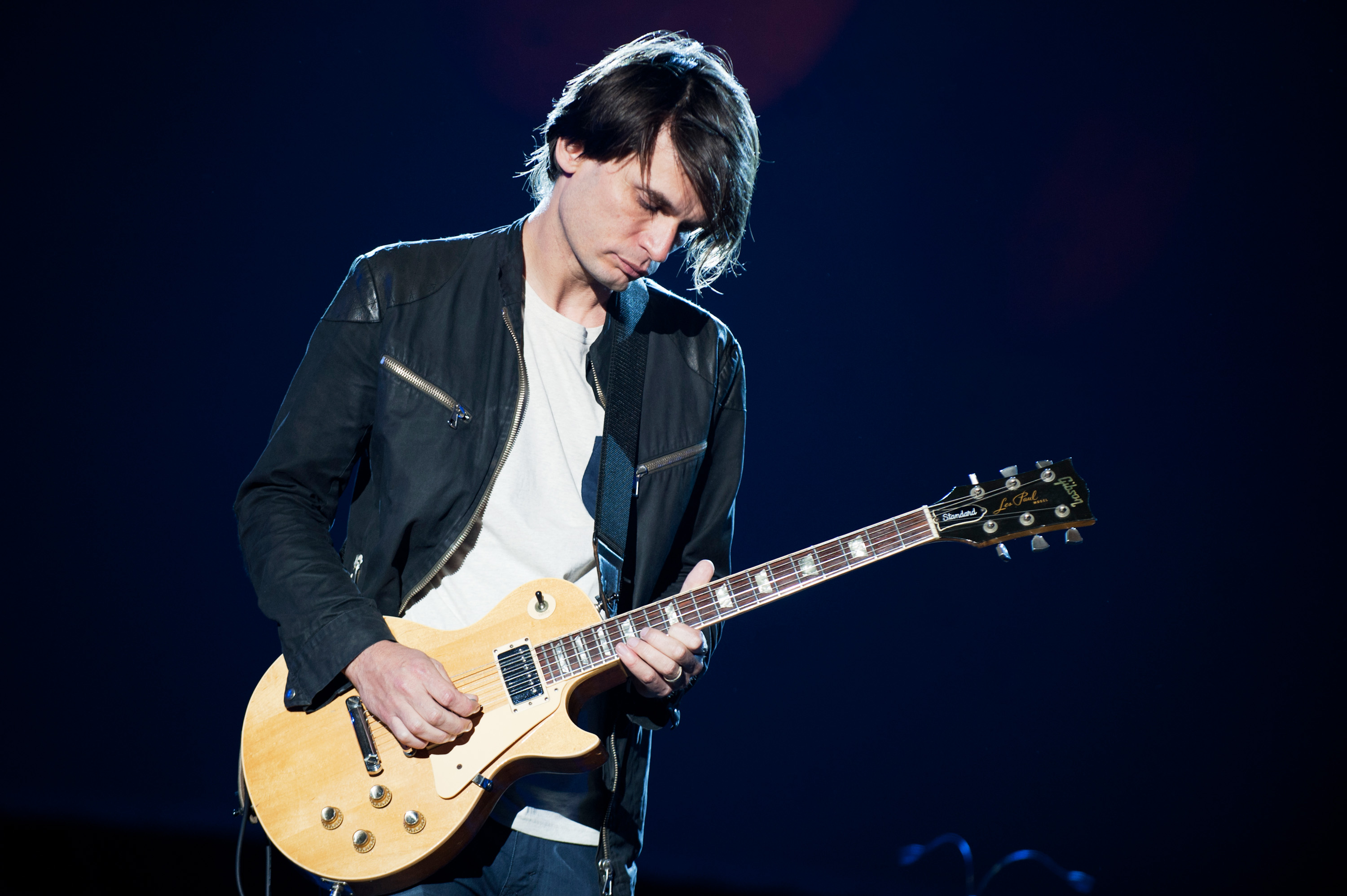 GDYNIA, POLAND - JULY 06: Jonny Greenwood performs on stage on Day 4 of Open'er Festival 2013 on July 6, 2013 in Gdynia, Pola