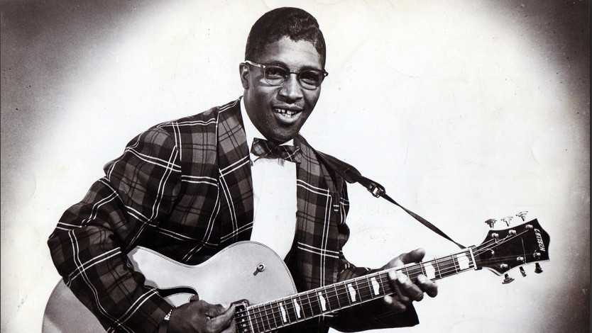 UNSPECIFIED - JANUARY 01:  Photo of Bo DIDDLEY; Posed portrait of Bo Diddley with guitar  (Photo by Gilles Petard/Redferns)