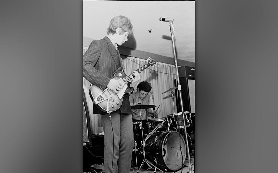 Gods perform on stage, Starlight Ballroom, Sudbury, UK, 1966, featuring Mick Taylor (right) later of The Rolling Stones. (Pho