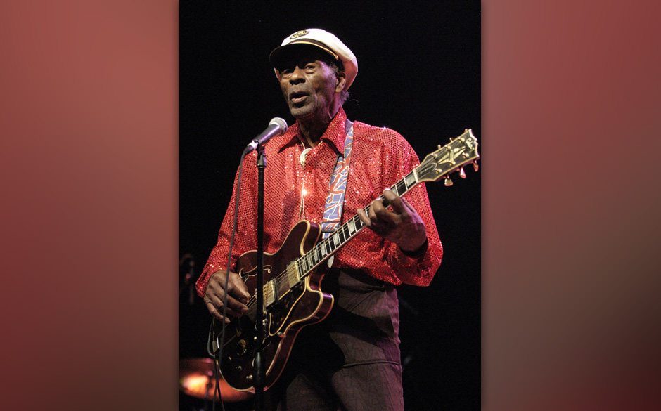 (NO TABLOIDS) Chuck Berry performs at the Congress Theater on January 1, 2011 in Chicago, Illinois. (Photo by Paul Warner/Wir
