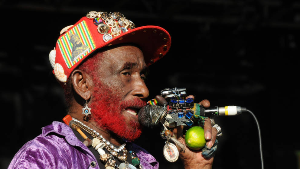 WILTSHIRE, UNITED KINGDOM - JULY 26: Lee 'Scratch' Perry performing at WOMAD, Charlton Park, Malmesbury, UK on 26 July 2013.