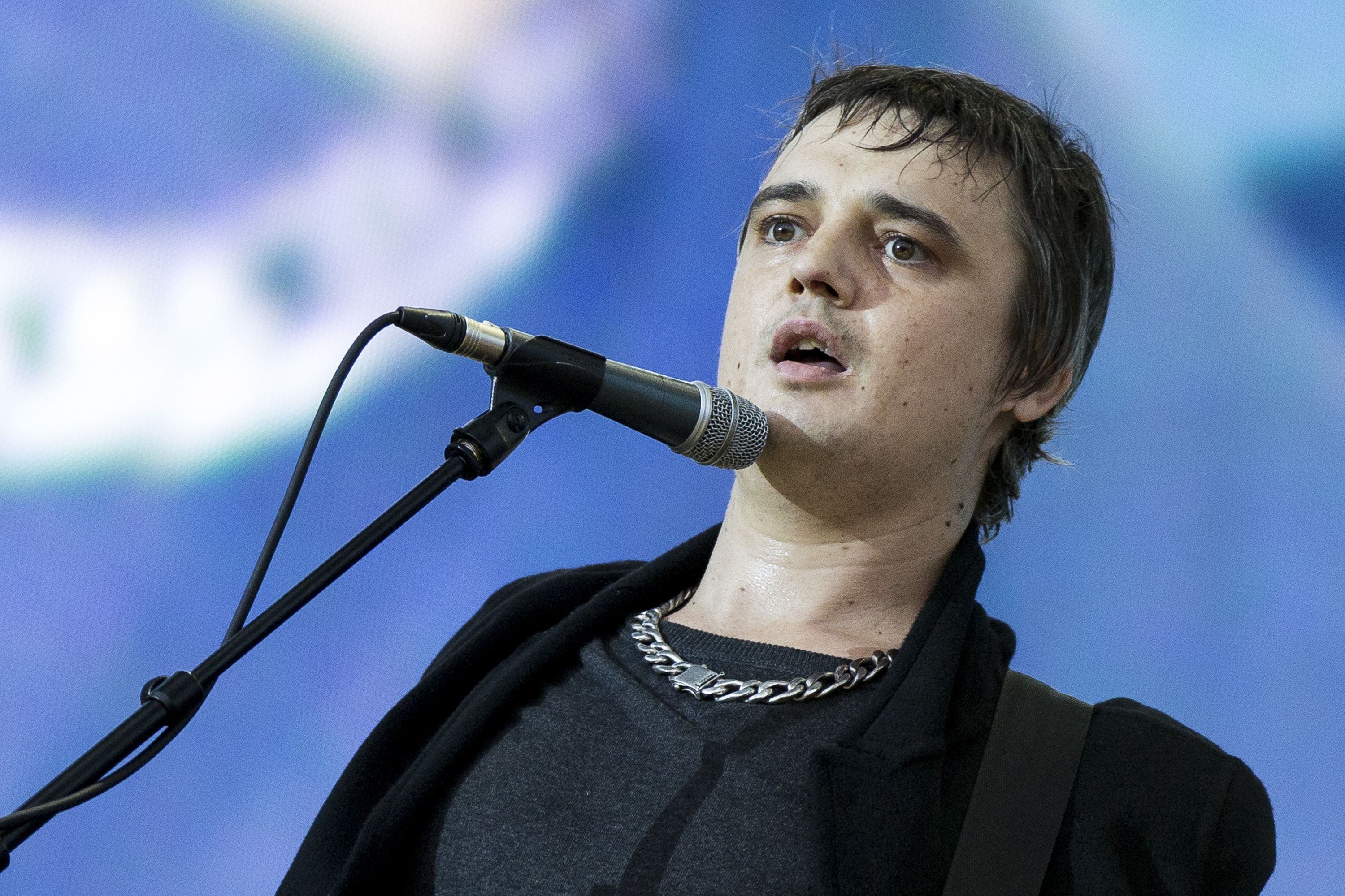 LONDON, ENGLAND - JULY 05:  Pete Doherty of The Libertines performs on stage at British Summer Time Festival at Hyde Park on